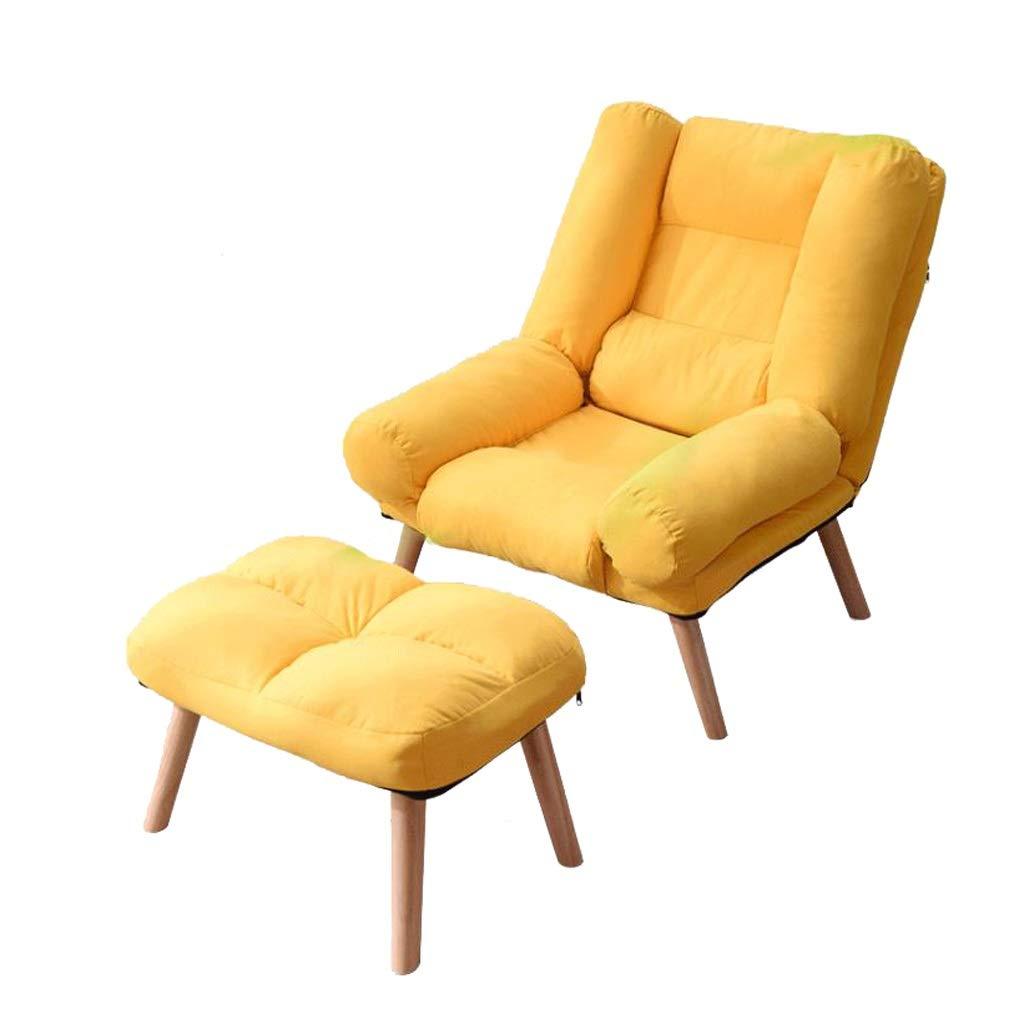 ソリッドウッド製デッキチェアダイニングチェアパティオ庭園サンラウンジャーリビングルーム寝室レジャーソファ椅子コンピュータチェア妊娠中の女性のリクライニングチェア (Color : Yellow) B07TDLY2QJ Yellow
