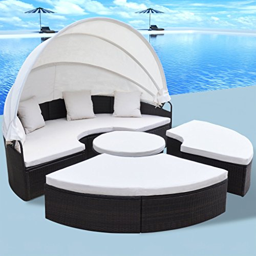 Outdoor Round Chaise (Festnight 2-in-1 Outdoor Pool Patio Sofa Chaise Lounge Set Poly Rattan Round Daybed Furniture 91