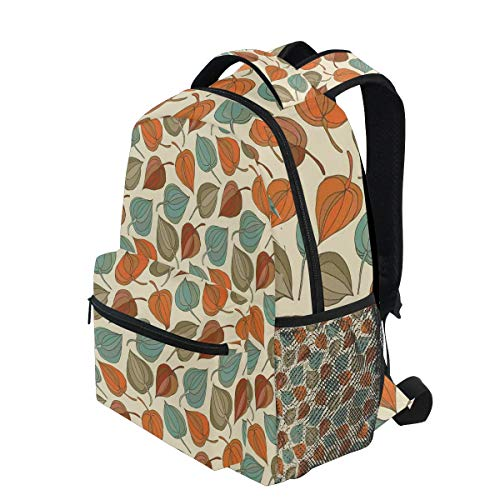 KVMV Onion Flower Leaves Mother Nature in Autumn Art Nouveau Winter Cherry Rural Pattern Lightweight School Backpack Students College Bag Travel Hiking Camping Bags (Nouveau Zip Back)