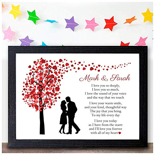 Personalised I Love You Poem Gifts for Couples – Perfect for Husband, Wife, Boyfriend or Girlfriend – Suitable for Birthday, Christmas, Valentines or Anniversary – PERSONALISE WITH ANY 2 NAMES