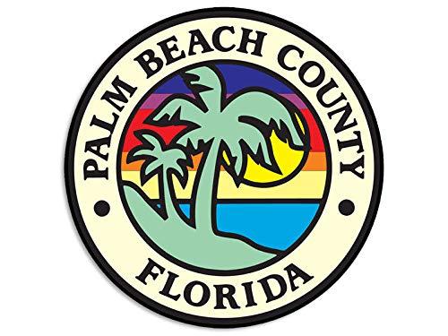 JR Studio 4x4 inch Round Palm Beach County Seal Sticker - Decal Logo East west Florida FL Vinyl Decal Sticker Car Waterproof Car Decal Bumper Sticker