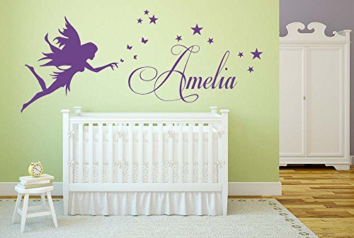 Fairy Personalized Wall Art (Personalized name, Fairy with stars, Vinyl Wall Art Sticker, Mural, Decal. Home, Wall Decor, Children's Bedroom, Nursery, Playroom Decor. Any name personalized!)