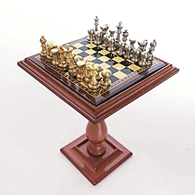 Dollhouse Miniature Chess Set and Table Magnet Chess Pieces 1:12 Scale Model