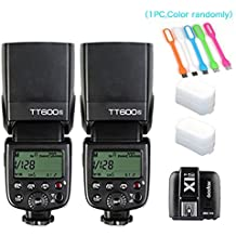 2X Godox TT600S HSS Built-In 2.4G Wireless X System Flash Speedlite for Sony Multi Interface MI Shoe Cameras+Godox X1T-S Remote Trigger Transmitter +HuiHuang USB LED free gift