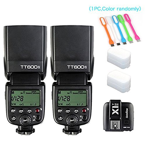 2X Godox TT600S HSS Built-In 2.4G Wireless X System Flash Speedlite for Sony Multi Interface MI Shoe Cameras+Godox X1T-S Remote Trigger Transmitter +HuiHuang USB LED free gift by Godox