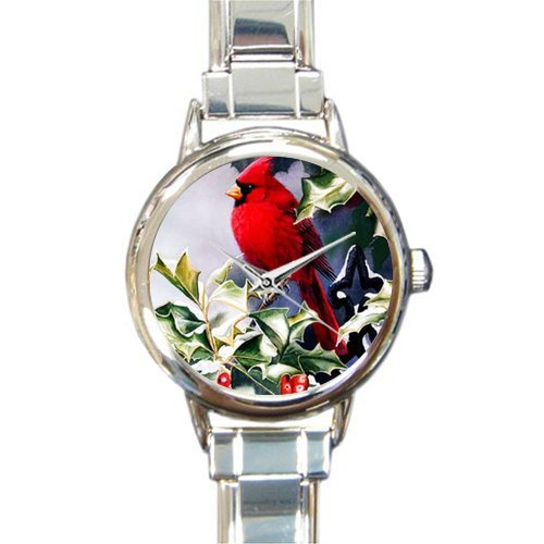 Special Design Beautiful Red Cardinal bird and Snow Round Italian Charm (Bird Italian Charm Watch)