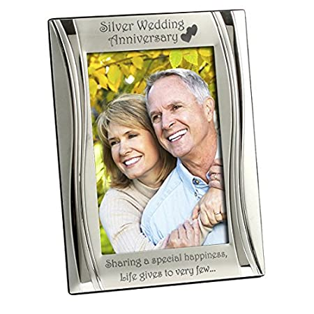 Silver 25th Wedding Anniversary Photo Frame Matt And Gloss Silver