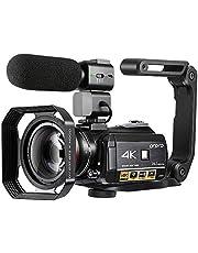 ORDRO 4K UHD Camcorder Digitale Videokamera mit Mikrofon und Weitwinkelobjektiv