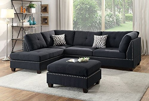 Poundex Bobkona Viola Linen-Like Polyfabric Left or Right Hand Chaise Sectional Set with Ottoman (Pack of 3), Black (Arm Facing Right Sectional)