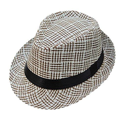 ❤ Fulijie Glamorous Straw Cap, Unisex Gangster Cap Lattice Pattern Beach Sun Straw Visor Sun Hat British Jazz Beach Shade Hat