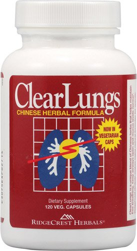 Ridgecrest Herbals ClearLungs (Red) (Pack of 2) with Dong Quai Root, Ophiopogon Root, Poria Fungal Body, Chinese Asparagus Root, Chinese Skullcao Root, and Gardenia Fruit, 120 Capsules Each