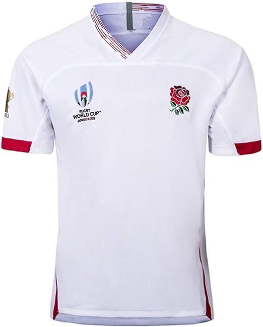 Camiseta de Rugby -2019 Copa del Mundo de Rugby de Inglaterra hogar lejos Camiseta de fútbol, los Hijos Adultos de Deportes del Juego de Entrenamiento de fútbol (Color : White, Size :