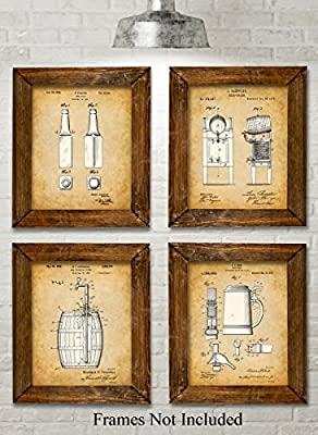 Original Beer Patent Art Prints - Set of Four Photos (8x10) Unframed - Great Gift for Home Brewers or Man Caves