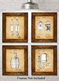 beer artwork - Original Beer Patent Art Prints - Set of Four Photos (8x10) Unframed - Great Gift for Home Brewers or Man Caves
