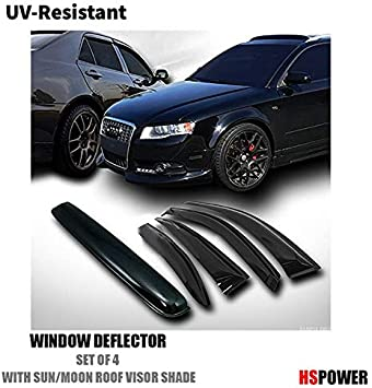 Smoke Sun Shade Window Visors Sunroof Moon Roof Guard For 03-07 Accord Sedan 4Dr