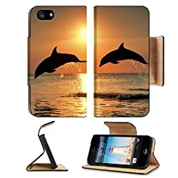 Dolphins Jump Couple Sunset Sea Apple iPhone 5 / 5S Flip Cover Case with Card Holder