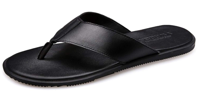 FuweiEncore Hohe Qualität Herren Flip Flops Ledersandalen Extra Große Größe Arch Support Hausschuhe Verbesserte Version (Farbe   Schwarz, Größe   42EU)