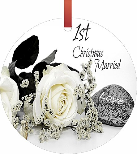 Lea Elliot First Christmas Married, Flat Round Shaped Holiday Hanging Tree Ornament, Semi Gloss, Made in the USA (1st Married Christmas Quotes)