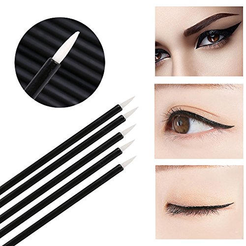 Makeup Brush gLoaSublim 100Pcs Disposable Eye Makeup Eyeliner Liquid Brushes Wand Cosmetic Applicator - White Head (32 Piece Makeup Brush Set And Their Uses)