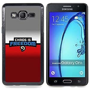 - Chaos Is Freedom - - Cubierta del caso de impacto con el patr??n Art Designs FOR Samsung Galaxy On5 SM-G550FY G550 Queen Pattern