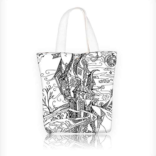 Women's Canvas Tote Bag, Drawn Image of House Cartoon Like Witch Castle Halloween Themed Image Black and Ladies Top-handle Handbags, work school Shoulder Bag W11xH11xD3 INCH
