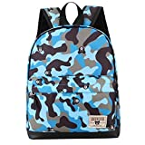 Children Baby Boys Girls Camouflage Pattern Print Backpack Toddler School Bags (Blue)