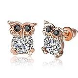 Duo La Cute Owl Zircon 18K Gold Plated Stud Earrings