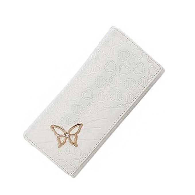 wlgreatsp Mujer Compras Informal Dulce largo Embrague elegante duro Vogue de la mariposa coreano Cartera de cuero de la: Amazon.es: Ropa y accesorios