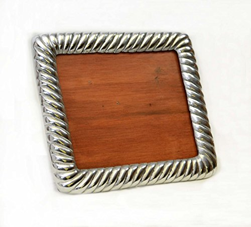 POLISHED SAND CAST ALUMINUM PICTURE FRAME, ROPE DESIGN, 8.5 INCHES TALL BY 10 INCHES WIDE. by Laredo