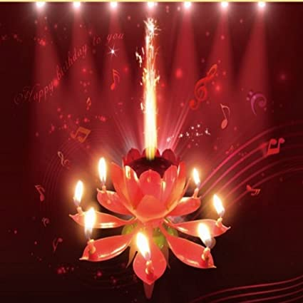 Pink Sparkling Musical Lotus Happy Birthday Candle Flower Cake Topper Amazoncouk Kitchen Home