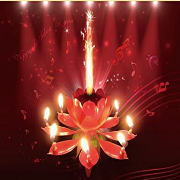 Pink Sparkling Musical Lotus Happy Birthday Candle Flower Cake Topper Amazonin Home Kitchen