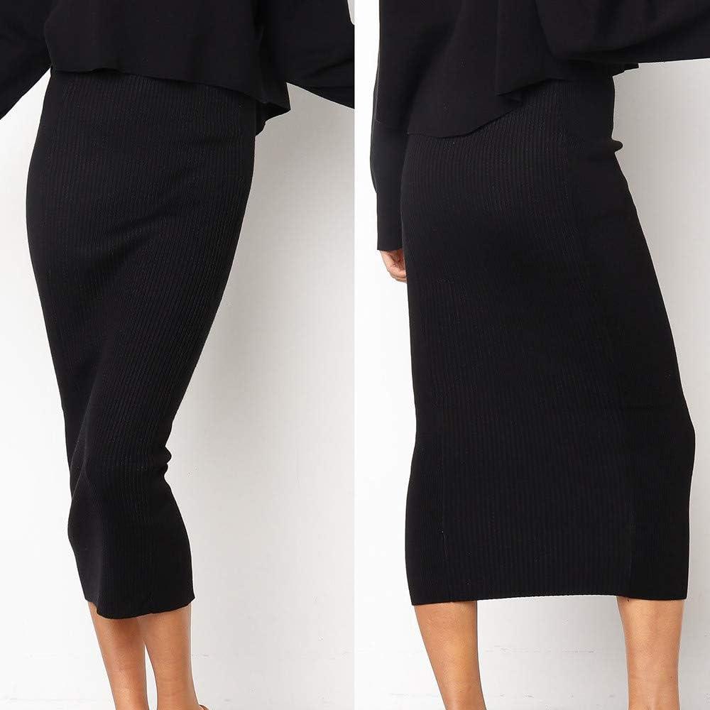 Kaister Couleur Unie Jupe Droite Slim Jupe Longue Moulante /À Taille Haute pour Femmes