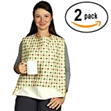2 Pack - Washable Adult Bib with Optional Crumb Catcher, Vinyl Backing and hook and loop Closure - Reusable Clothing Protector with Protective Backing - Great for Adults and Seniors