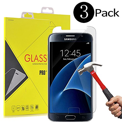 SUMOON S7protector Galaxy S7 Screen Protector, Tempered Glass, 9H Hardness, Bubble Free, Case Friendly - 3 Piece