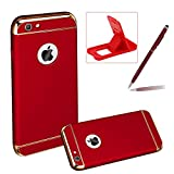 3 in 1 Plating Case for iPhone 6S Plus,Full Body Hard Back Cover for iPhone 6 Plus,Herzzer Luxury [Electroplating Technology] PC Texture Back All-Round Protection Case For iPhone 6 Plus/6S Plus 5.5 inch,Red