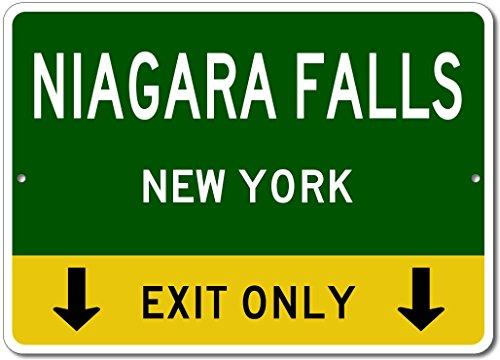 NIAGARA FALLS, NEW YORK This Exit Only - Custom Aluminum US City State Sign - - Falls Shop Usa Niagara Gift