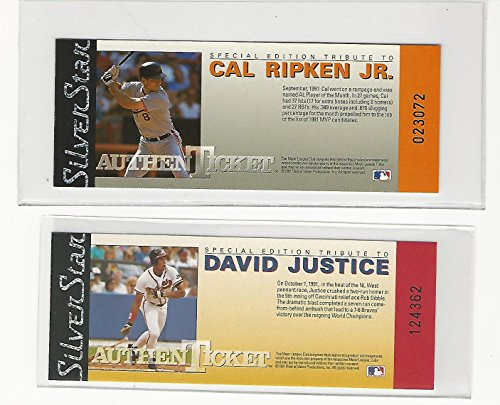 Silver Star Casting (1991 Silver Star Cal Ripken Jr. & David Justice, Numbered Authenticket.group of 2)