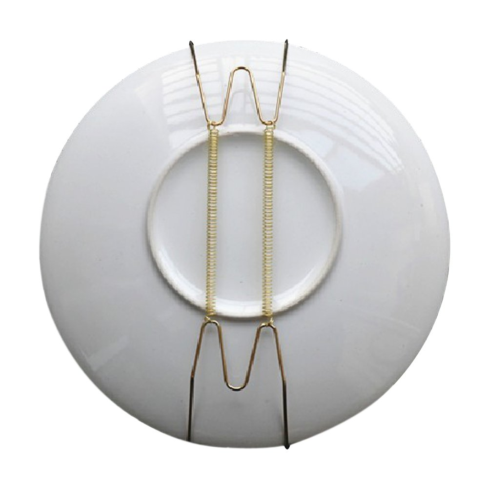 Pack of 10 8-Inch Spring Style Invisible Plate Tray Dish Wire Hanger Holders Brass Coated, Holds 7.5'' to 9.5'' Plates by Aketek