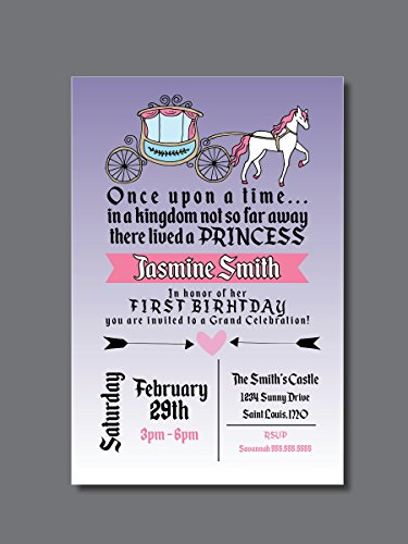 Customized - Birthday Invitation - First Birthday, Princess, Personalized