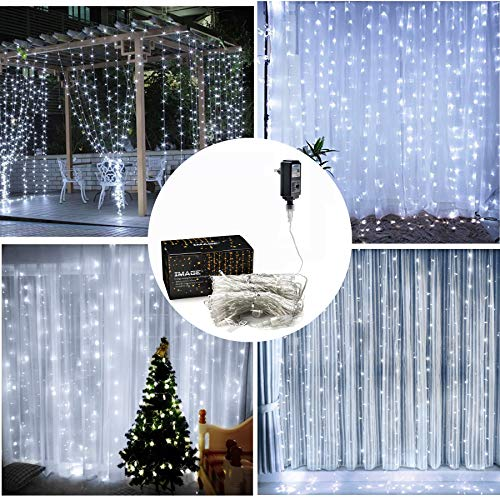 IMAGE Curtain Lights,9.8x9.8ft LED Curtain String Lights with 8 Modes for Home Garden Bedroom Wedding Party Backdrops Decor- Full Waterproof UL Safety-White