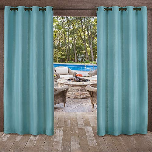 Exclusive Home Curtains Delano Heavyweight Textured Indoor/Outdoor Window Curtain Panel Pair with Grommet Top, 54x84, Teal, 2 Piece