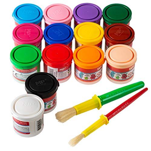 🥇 Pack 14 Botes de Temperas para Niños Lavable Liquidas 40ml + 2 Pinceles para Tempera   Artix Pro