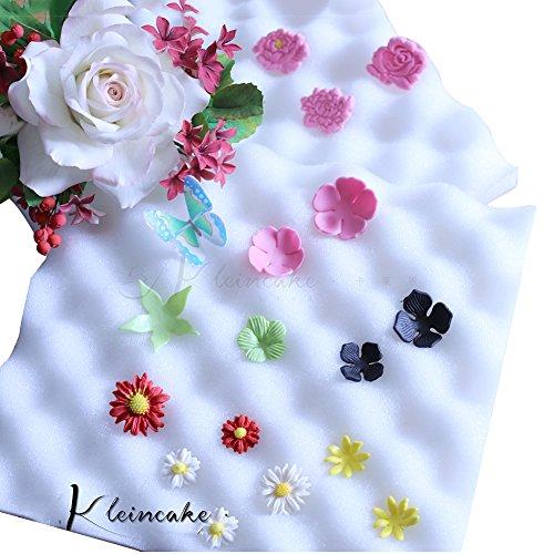 2Pcs Sugarcraft Fondant Foam Pad Dry Flower Sponge Mats Gum Paste Shaping Mold Decorating Bakeware Tool ()