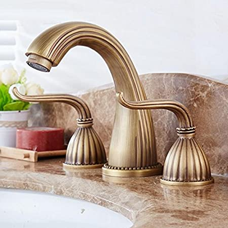 ZHFC Antique copper door three basin faucet hot cold water mixing ...