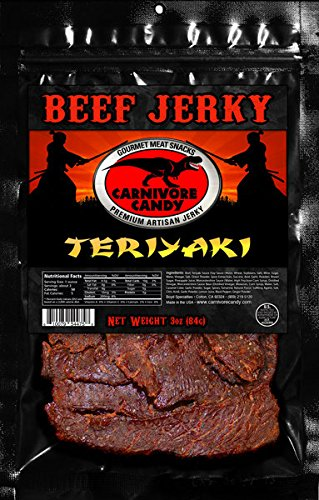 3 bags of 3 oz. Premium Teriyaki Beef Jerky as seen on SHARK TANK. No MSG, No preservatives. High in Protein and makes the Best Snacks for camping or just hanging out!.
