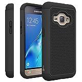 Samsung Galaxy Express 3 Case, Samsung Luna case (2016), CoverON [HexaGuard Series] Slim Hybrid Hard Phone Cover Case for Samsung Galaxy J1 Luna 4G LTE - Black
