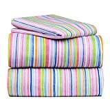 Dor Extreme Super Soft Luxury Twin Bed Sheet Set in 8 Different Prints, 3 Piece Set,… (Rainbow Stripe)