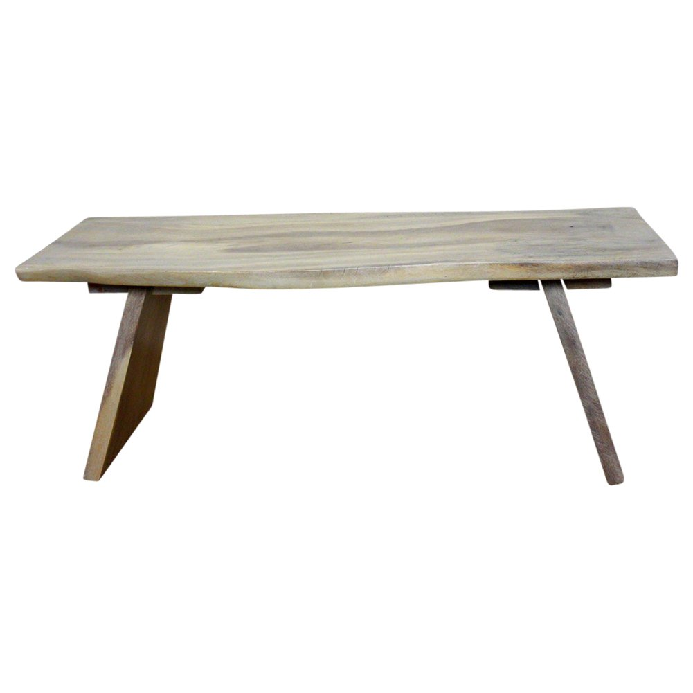 Angled Bench 48x17-20x18 inch H Monkey Pod Wood KD in Eco Livos Agate Grey Oil F