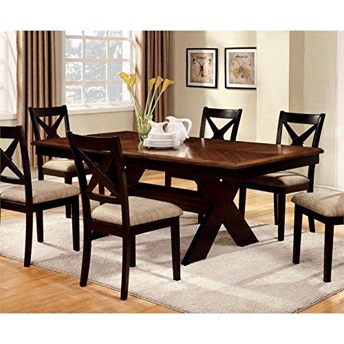 Furniture of America Harvest Rectangular Dining Table with 18-Inch Leaf Extension, Dark Oak/Black - Trestle Harvest Table