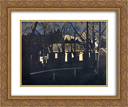 Horace Pippin 2x Matted 24x20 Gold Ornate Framed Art Print 'Birmingham Meeting House - Galleria Birmingham